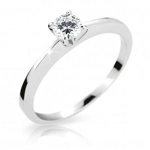 Zásnubní prsten z bílého zlata s briliantem