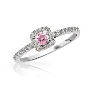 Zásnubní prsten bílé zlato s růžovým safírem DF2800