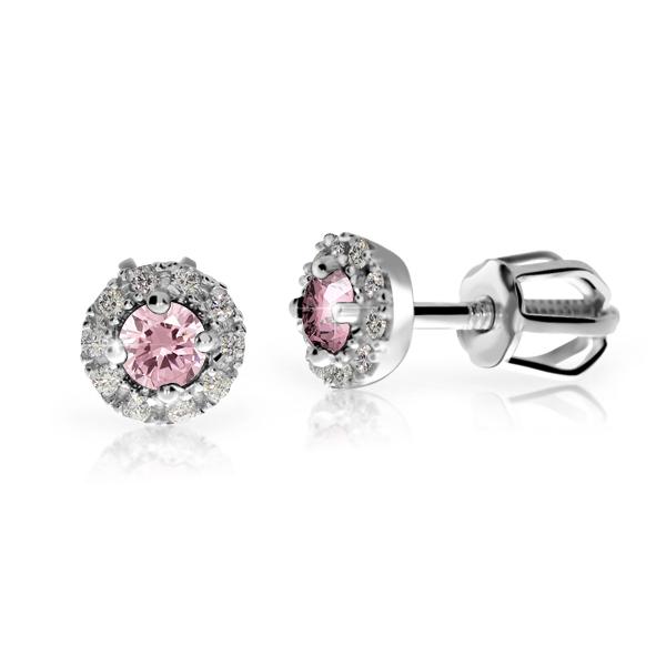 zlaté náušnice s růžovým safírem a diamanty