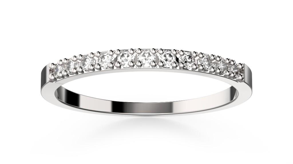 Snubní prsten bílé zlato s diamanty