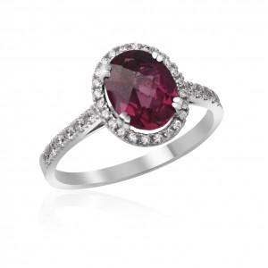Prsten s diamanty a rodolitem