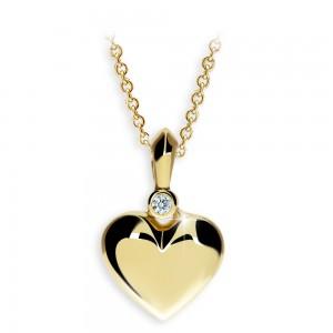 zlaty privesek s diamantem ve tvaru srdce