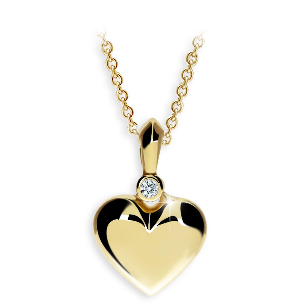 zlatý přívěsek ve tvaru sdrce s diamantem