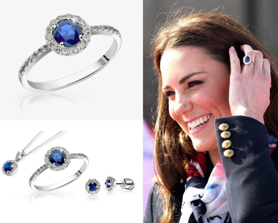 Prsten s modrým safírem Kate Middleton
