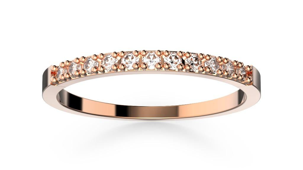 Snubní prsten růžové zlato s brilianty