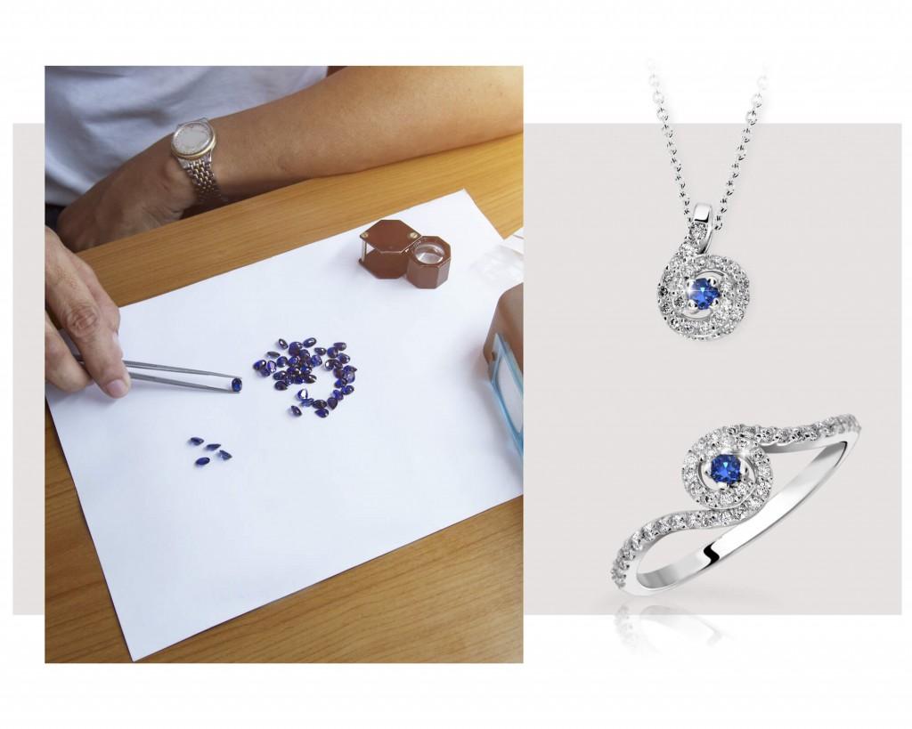 prsten a přívěsek s modrým safírem