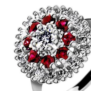 Zlatý prsten s diamanty a rubíny