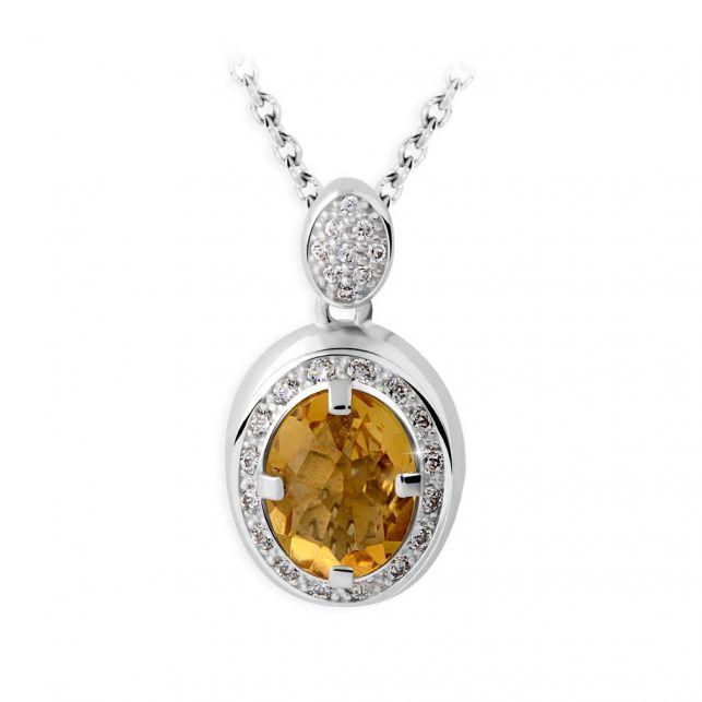 zlatý přívěsek s citrínem a diamanty