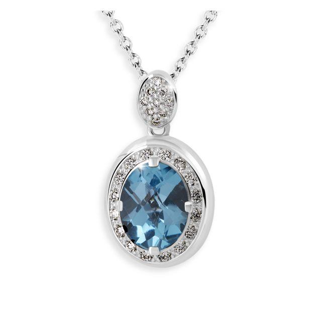 zlatý přívěsek s modrým topazem s diamanty