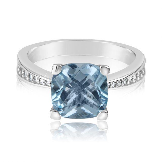 luxusní prsten s modrým topazem