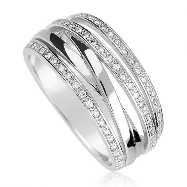 dámský prsten z bílého zlata s diamanty