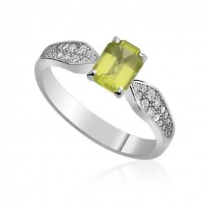 Luxusní prsten s olivínem a diamanty