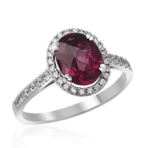 Zlatý prsten s granátem (rodolit)