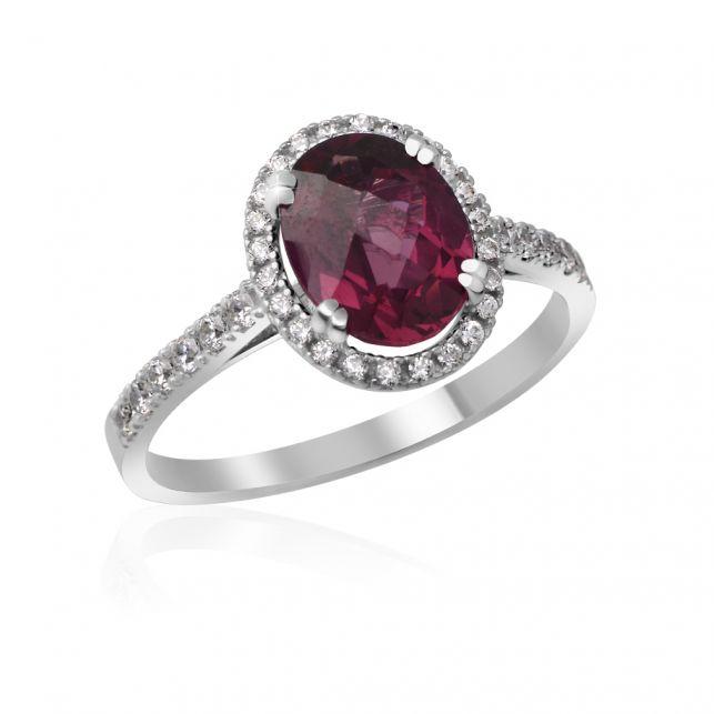 Zásnubí prsten s rubínem a diamanty