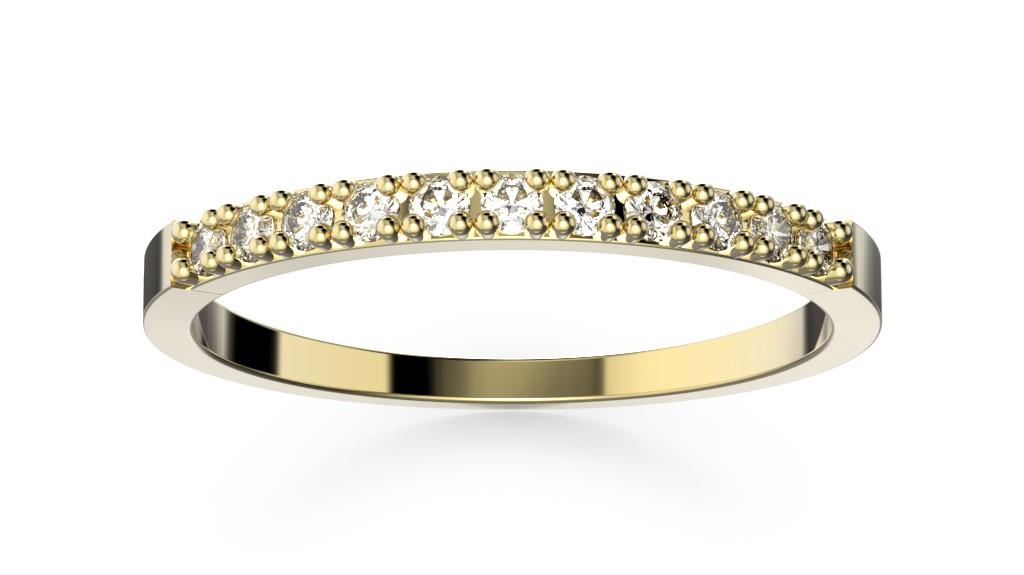 Snubní prsten žluté zlato s diamanty